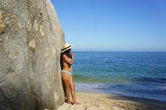 Girl looking at the ocean Royalty Free Stock Photos