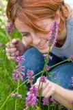 Girl Looking On Bumblebee Royalty Free Stock Image