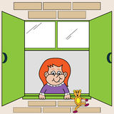 Girl Looking out Window. Cute small child looking out the window holding her teddybear hanging over the window ledge. Cartoon characters vector illustration