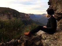 Girl looking over blue mountains. Australia Royalty Free Stock Photos