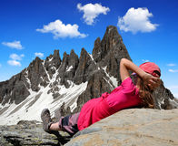 Girl looking at the Paternkofel Stock Photography