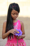 Girl Looking Purple Flower Stock Photography