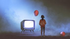 Girl looking at red balloon coming out of TV. Girl looking at red balloon floating coming out of television on dark background, digital art style, illustration Stock Photo