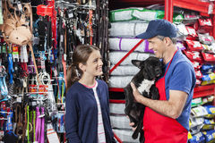 Girl Looking At Salesman Carrying French Bulldog. Happy girl looking at salesman carrying French Bulldog in pet store stock photography