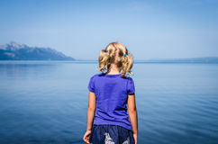 Girl looking at sea Royalty Free Stock Images