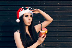 Girl looking for Someone at a Christmas Party Stock Image