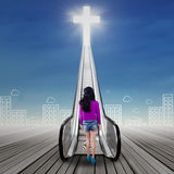 Girl looking at a stair to the heaven Royalty Free Stock Photos