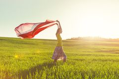 Girl looking at sunrise with tissue Stock Photos
