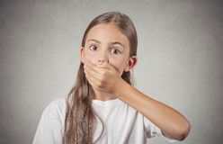 Girl looking surprised shocked with hand covering mouth Royalty Free Stock Photos