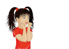 Girl looking surprised and shows hands wow. Vector.Portrait Royalty Free Stock Photo