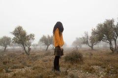 Girl looking to the land. Zaragoza, Spain Royalty Free Stock Photo