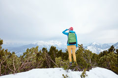 Girl looking to mountains Royalty Free Stock Photography