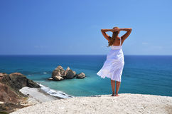 Girl looking to the sea, Cyprus Stock Photos