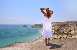 Girl looking to the sea, Cyprus Stock Photography
