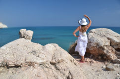 Girl looking to the sea Stock Photo
