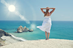 Girl looking to the sea. Near Aphrodite birthplace, Cyprus Royalty Free Stock Image