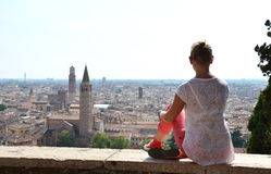Girl looking to Verona town Royalty Free Stock Photography