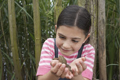 Girl Looking At Toad Stock Photography