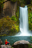 Girl looking at Toketee Falls Douglas County Oregon Royalty Free Stock Photo