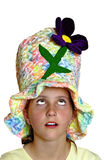 Girl looking up. Girl wearing colorful hat looking up Stock Image