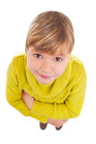 Girl looking up. Funny portrait of young girl looking up to the camera Royalty Free Stock Photo