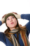 Girl looking up. An image of a girl in a green hat looking up Royalty Free Stock Photos