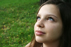 Girl looking up Stock Photography