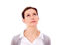 Girl looking up above isolated copy space Stock Images