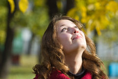 Girl looking up autumn Stock Photo