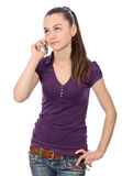 Girl looking up indecision phone talk Stock Photography