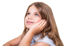 Girl looking up and smiling Royalty Free Stock Photos