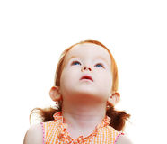 Girl looking up. Sweet Little girl looking up to the copy space area Royalty Free Stock Image