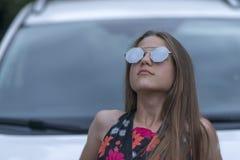 Girl looking up stock photos