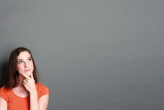 Girl looking up to blank space Royalty Free Stock Photography