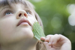 Girl Looking Up While Touching Leaf On Face. Closeup of cute girl looking up while touching leaf on face Stock Images