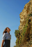 The girl looking upwards Royalty Free Stock Photography