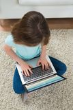 Girl Looking At Video On Laptop Stock Photos