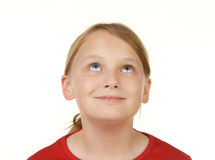 Girl looking at white copyspace Royalty Free Stock Photos