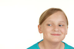 Girl looking at white copyspace Stock Photo