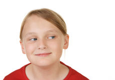 Girl looking at white copyspace Royalty Free Stock Image