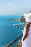 Girl lookng on Las Teresitas beach Royalty Free Stock Images