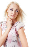 Girl looks away and thinks. Stock Photography