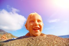Girl looks into the camera Royalty Free Stock Photos