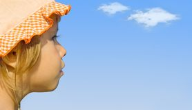 The girl looks into the distance Stock Images
