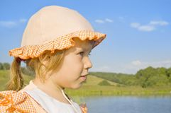 The girl looks into the distance Royalty Free Stock Images