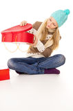 Girl looks in a gift Stock Photo