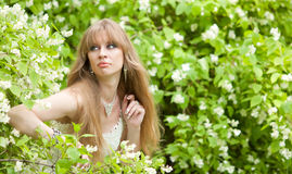 The girl looks out of bushes Royalty Free Stock Photo