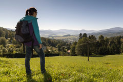 Girl looks out over the mountains, Czech mountains Jesenik Royalty Free Stock Images