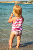 girl looks at the sea Stock Images