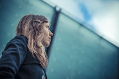 Girl looks on the sky Royalty Free Stock Photography